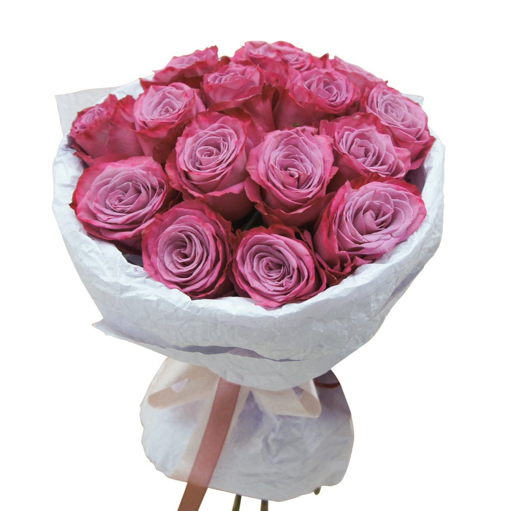 Для самой загадочной: фиолетовые розы с коробкой конфет Рафаэлло