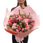 Букет из розовых тюльпанов и гиацинтов в Санкт-Петербурге