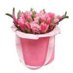 Розовые тюльпаны и гиацинты в бархатной шляпной коробке в Санкт-Петербурге