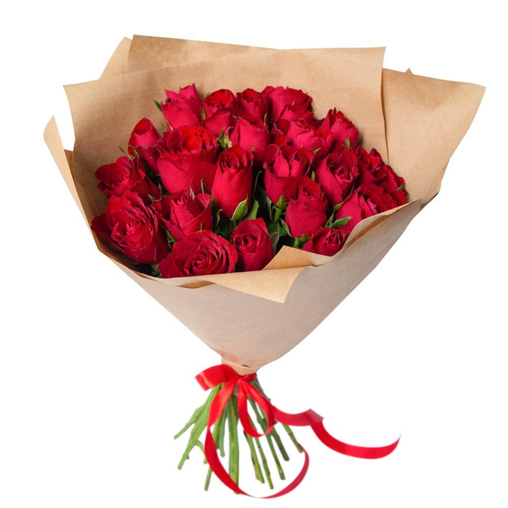 Роза Кения красная 25 штук в крафте