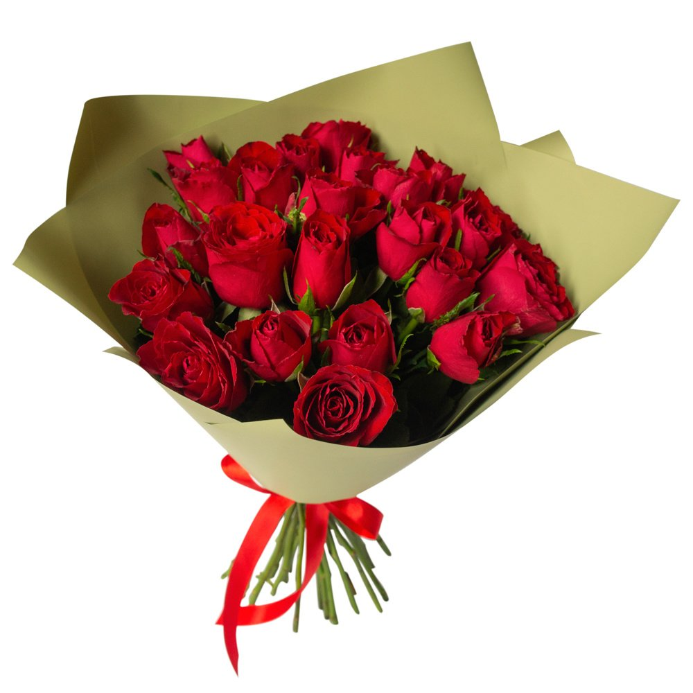 Роза Кения красная 25 штук в упаковке