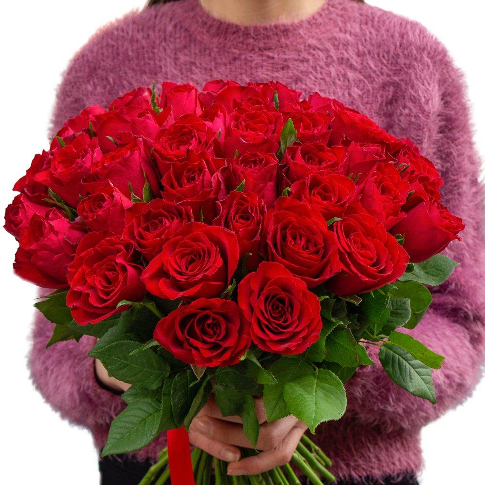 Букет из 51 красной Кенийской розы в Санкт-Петербурге