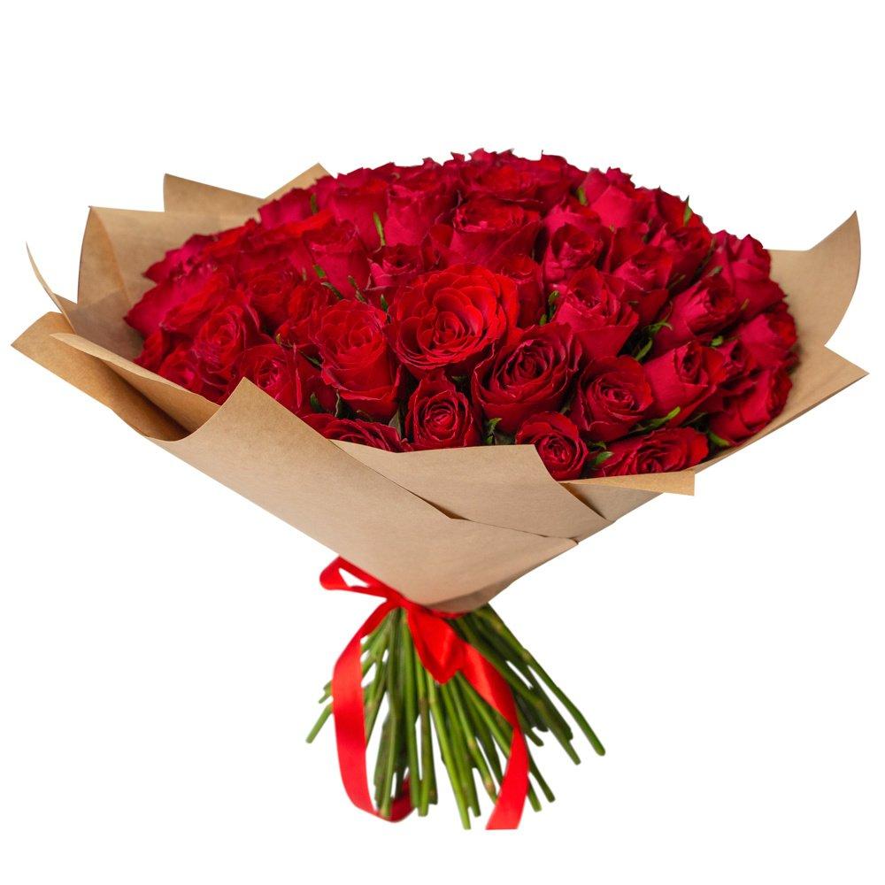 Роза Кения красная 75 штук в крафте