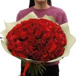 Букет из 75 красных Кенийских роз в упаковке в Санкт-Петербурге