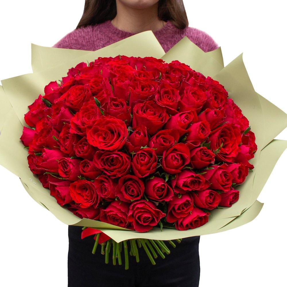 Роза Кения красная 101 штука в упаковке