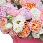Розовые пионы, кустовая пионовидная роза Джульетта, лизиантус и гвоздика в розовой бархатной шляпной коробке в Санкт-Петербурге