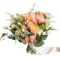 Букет невесты с белым лизиантусом, белой кустовой розой и пионовидной кустовой розой Джульетта в Санкт-ПетербургеБукет невесты с белым лизиантусом, белой кустовой розой и пионовидной кустовой розой Джульетта в Санкт-Петербурге