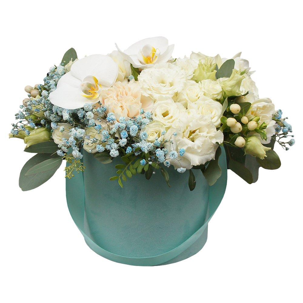 Эль' Жуфлю: орхидеи, розы, фрезии в бархатной коробке