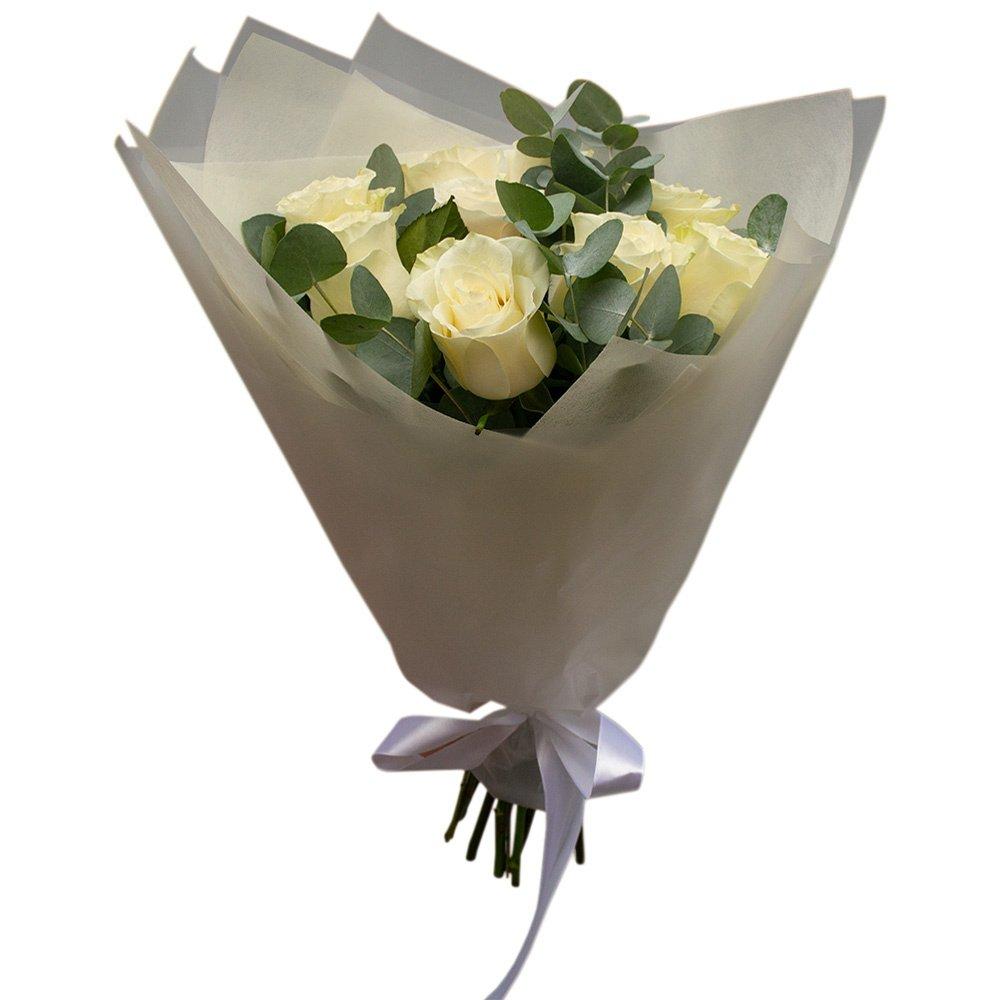 Белый танец: 9 белых роз с ароматным эвкалиптом