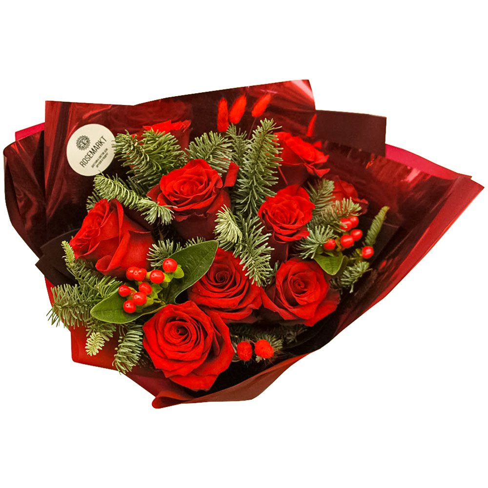 Подарок: 9 красных роз с еловыми ветками