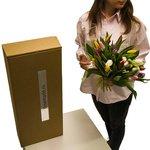 Букет разноцветные тюльпаны с вазой в Санкт-Петербурге