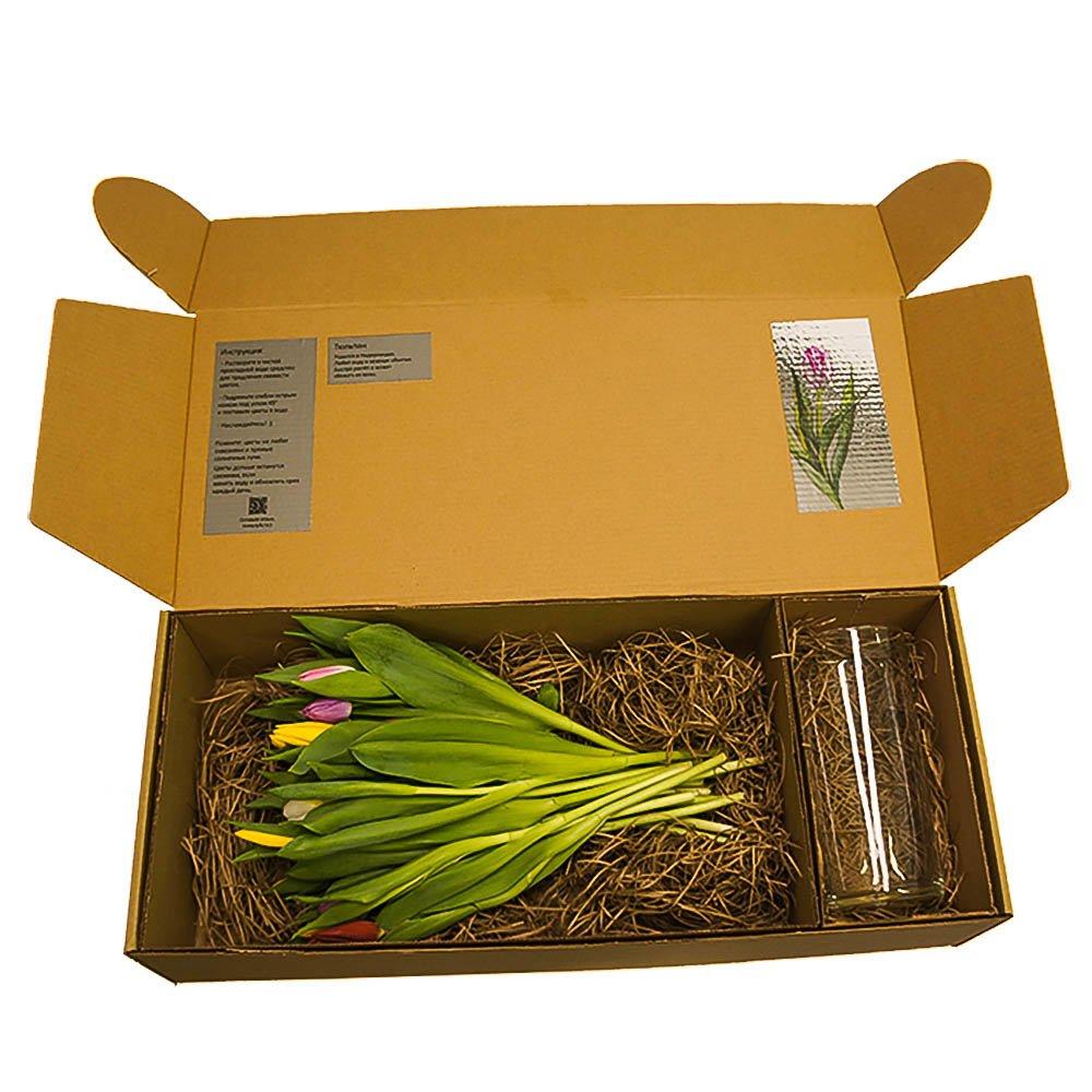Разноцветные тюльпаны + ваза, 25 цветов в коробке
